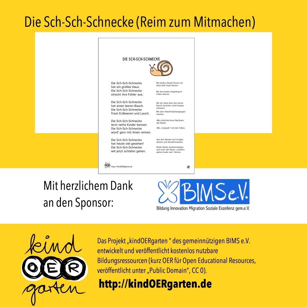 Reim und Fingerspiel: Die Sch-Sch-Schnecke | #0014 – KindOERgarten ...