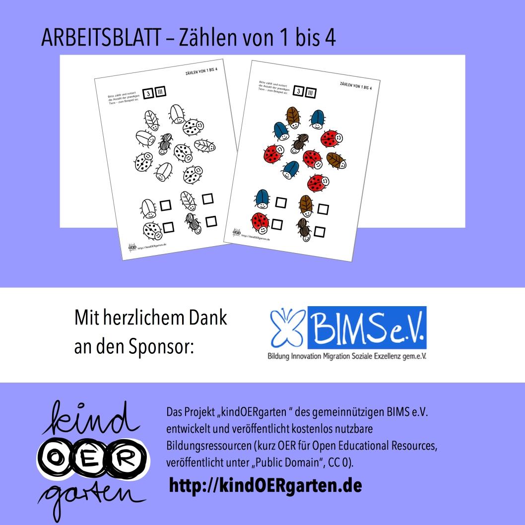 Käfer zählen – Arbeitsblatt (1-4) | #0013 – KindOERgarten.de ...