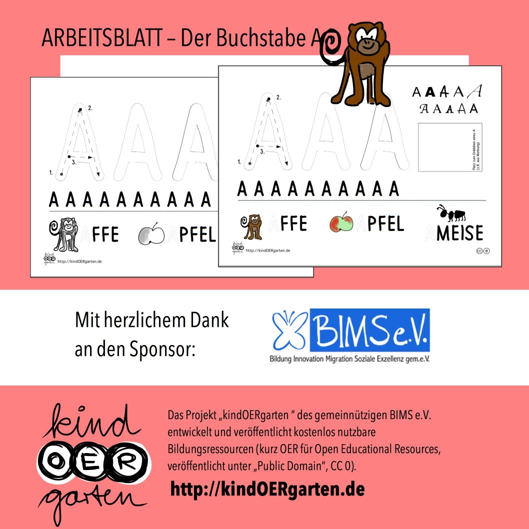 Der Buchstabe A – Arbeitsblatt | #0032 – KindOERgarten.de – Freies ...