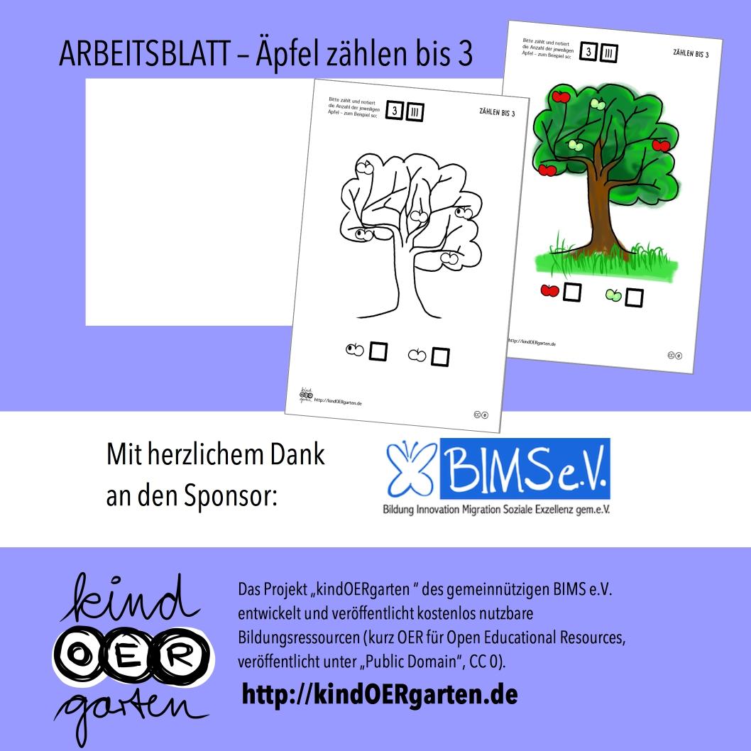 Äpfel zählen: 1 bis 3 – Arbeitsblatt | #0030 – KindOERgarten.de ...