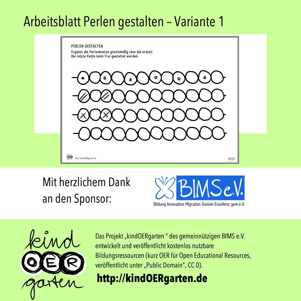 Arbeitsblatt Perlen gestalten – Muster | #0069 – KindOERgarten.de ...
