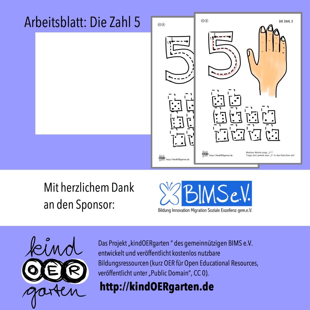 Die Zahl 5 | #0090 – KindOERgarten.de – Freies Material für das ...