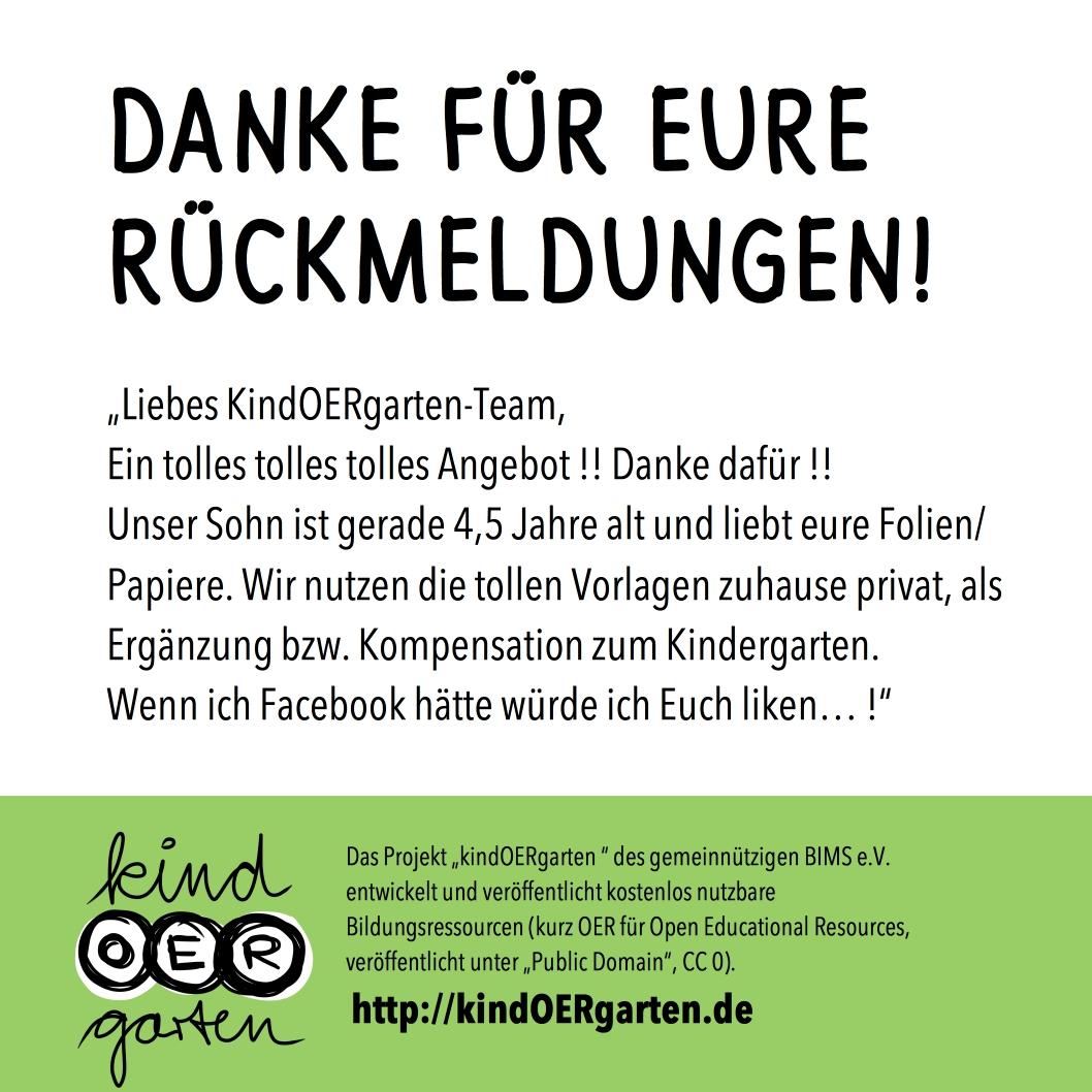 Wir freuen uns über Eure Rückmeldungen! – Danke! – KindOERgarten.de ...